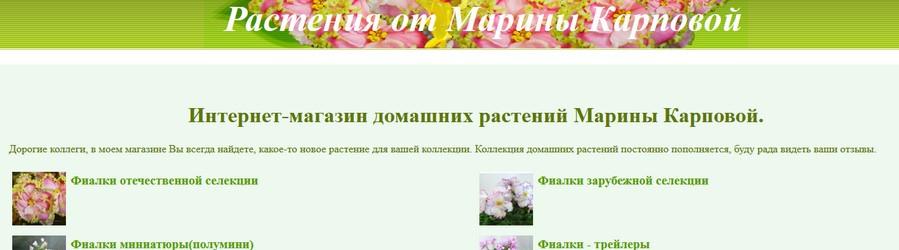 Продвижение сайта домашних растений Марины Карповой